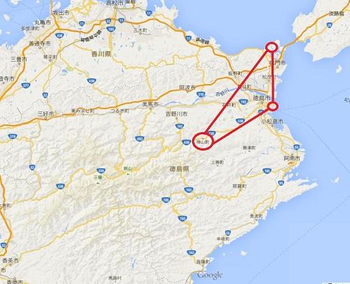 徳島地図(googleearth)