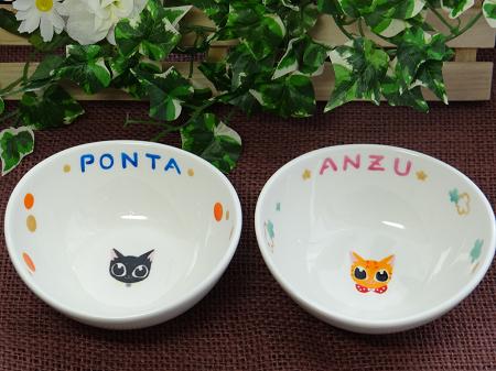 オーダー猫用食器顔【ぽんたちゃん、あんずちゃん】