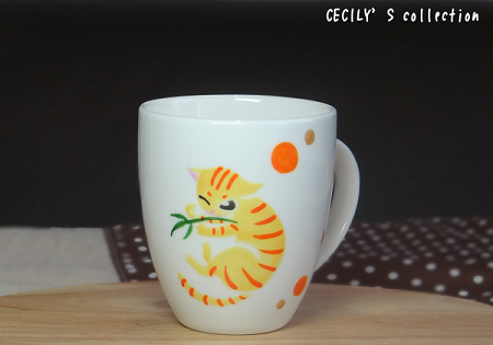 猫オーダー手描きマグカップスクウェアフォルム②