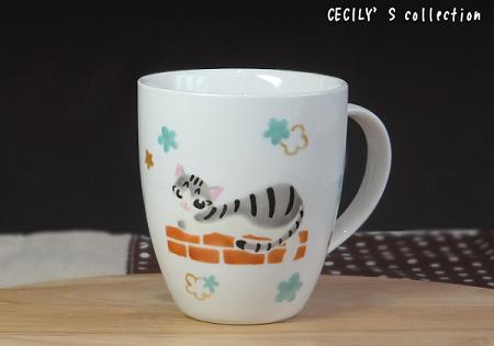 猫オーダー手描きマグカップスクウェアフォルム①