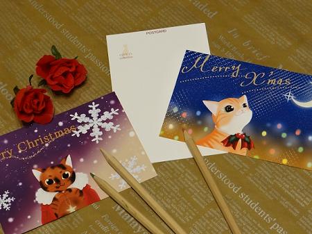 猫オリジナルポストカード クリスマスデザイン